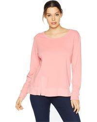 Mod-o-doc - Cotton Interlock Sweatshirt With Asymmetrical Front Slit (rose Petal) Women's Sweatshirt - Lyst