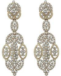 Nina - Jules Glamorous Statement Swarovski Earrings (gold) Earring - Lyst