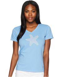 Life Is Good. - Mosaic Star Crusher Vee Tee (powder Blue) Women's T Shirt - Lyst