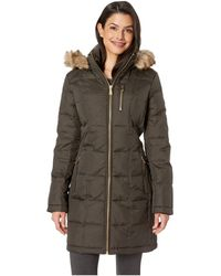 MICHAEL Michael Kors - Zip Front Down With Zip Pocket At Top And Faux Fur Trim Hood M821883gz (olive) Women's Coat - Lyst