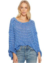 Free People - Striped Island Girl Hacci (blue Combo) Women's Long Sleeve Pullover - Lyst