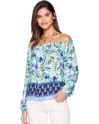 66bd0f1c10ec6 Lilly Pulitzer - Lou Lou Top (multi Petal Faster Engineered) Women s  Clothing - Lyst