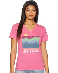 Life Is Good. - Happy Place Trees Cool Vee Tee (fiesta Pink) Women's T Shirt - Lyst