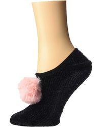 Betsey Johnson - Chenille Slipper Socks W/ Pom (black) Women's Crew Cut Socks Shoes - Lyst