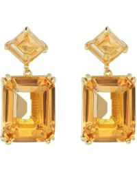 Nina - Emery Double Drop Earrings (gold/champagne Cz) Earring - Lyst
