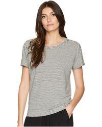 Lauren by Ralph Lauren - Lace-up Striped Linen T-shirt (chalk/polo Black) Women's T Shirt - Lyst