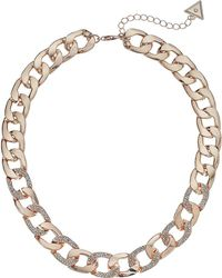 """Guess - S Chain Link Necklace Pave Accents 16"""" 2"""" Extender - Lyst"""
