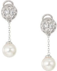 Majorica - 10mm Round Pearls And Cz Long Omega Earrings On Sterling Silver - Lyst
