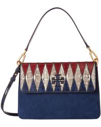 Tory Burch - Mcgraw Pieced Exotic Shoulder Bag (royal Navy) Shoulder Handbags - Lyst