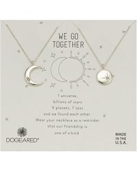Dogeared - We Go Together, Crecent And Star Disc With Crystal Set Of 2 Necklaces (sterling Silver) Necklace - Lyst