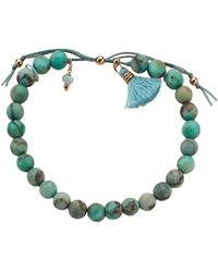 Dogeared - No Worries Bracelet, Matte Seafoam Green Jasper Bead Stone Bracelet With Nylon Pull Cord (gold Dipped) Bracelet - Lyst