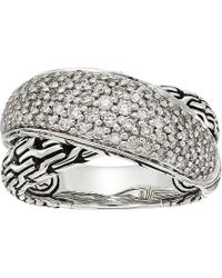 John Hardy - Classic Chain Arch Diamond Pave Overlap Ring (silver) Ring - Lyst