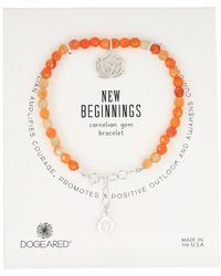 Dogeared - Gem Bracelet, New Begginings, Lotus Charm, Carnelian Bead - Lyst