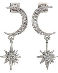 Vince Camuto - Crescent And Star Drop Earrings (rhodium/crystal) Earring - Lyst