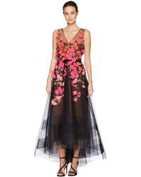 Marchesa notte - Sleeveless V-neck Hi-lo Gown W/ 3d Degrade Flowers (black) Women's Dress - Lyst