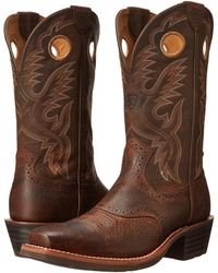 Ariat - Heritage Roughstock (brown Oiled Rowdy) Cowboy Boots - Lyst