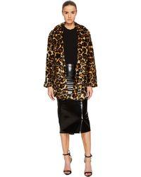 McQ - Long Leopard Fur Coat - Lyst
