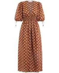 Zimmermann - Primrose Shirred Polka Dot Linen Dress - Lyst
