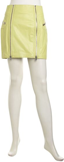 McQ by Alexander McQueen Boxy Bleached Leather Zip Skirt Neon - Lyst