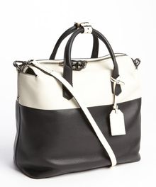 Reed Krakoff Black and Ivory Leather Convertible Top Handle Shoulder Bag - Lyst