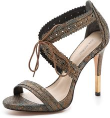 Pour La Victoire Shanna Metallic Lace Up Sandals - Lyst