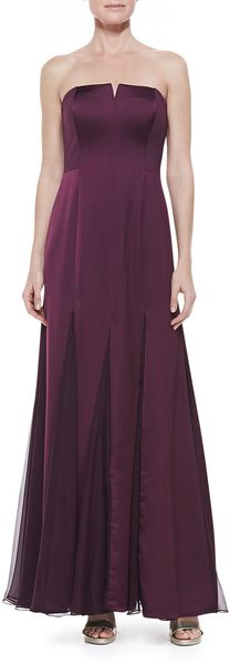 Halston Heritage Strapless Sheerinset Gown Bordeaux - Lyst