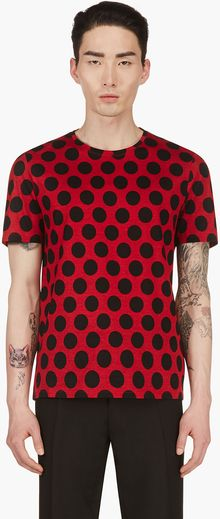 Burberry Prorsum Red and Black Polka Dot T_shirt - Lyst