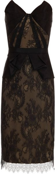 Notte By Marchesa Strapless Lace Peplum Dress - Lyst