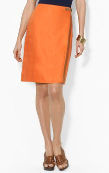 Ralph Lauren Lauren Straight Skirt with Leather Trim - Lyst