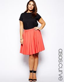 Asos Curve Full Skater Skirt in Scuba - Lyst