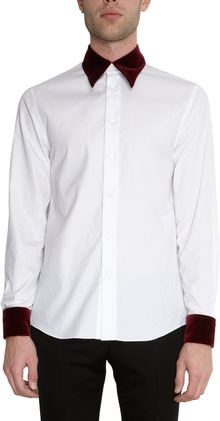 Alexander McQueen Contrast Velvet Collar and Cuffs Shirt - Lyst
