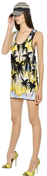 Fausto Puglisi Palm Printed Lycra Jersey Dress - Lyst
