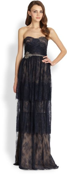 Notte By Marchesa Strapless Tiered Lace Gown - Lyst