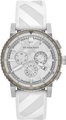 Burberry Silvertone White Chronograph Watch - Lyst