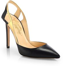 Alejandro Ingelmo Frederica Leather Metallic Leather Slingback Pumps - Lyst