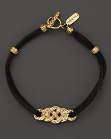 John Hardy Classic Chain 18k Yellow Gold Braided Station Bracelet On Black Cord - Lyst