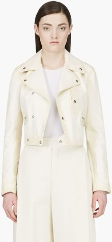 Yang Li Cream Leather Biker Jacket - Lyst