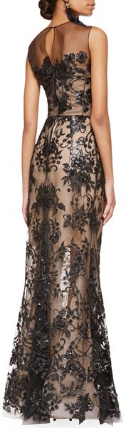 Oscar de la Renta Embroidered Lace Gown Blacknude - Lyst