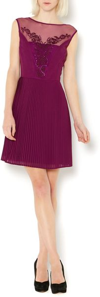 Therapy Emboidered Pleated Dress - Lyst