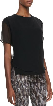 Theyskens' Theory Baim Georgette Shortsleeve Top - Lyst
