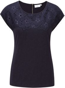 Cc Floral Lace Panel Jersey Top - Lyst