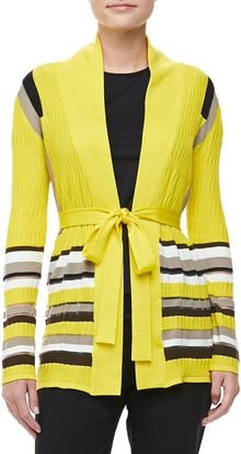 Carolina Herrera Belted Striped Cardigan Canary - Lyst