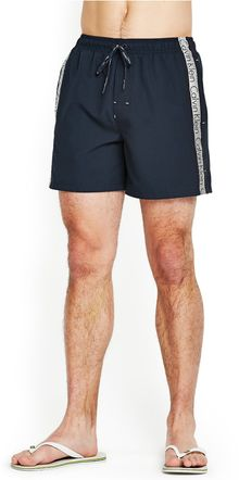 Calvin Klein Mens Logo Tape Drawstring Swim Shorts - Lyst
