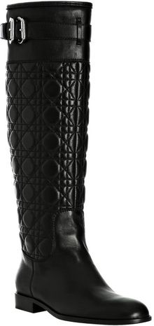 Dior Black Leather Cannage Riding Boots - Lyst