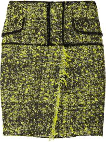Proenza Schouler Chiffon-trimmed Cotton-blend Tweed Skirt - Lyst