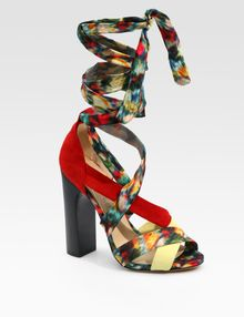 Nicholas Kirkwood For Erdem Silk & Suede Strappy Sandals - Lyst