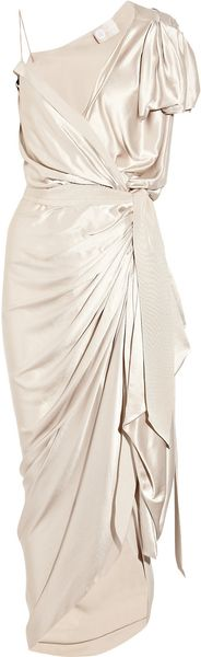 Lanvin Asymmetric Silk Satin Wrap Gown - Lyst