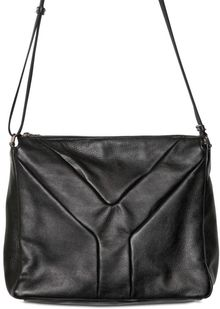 Saint Laurent Front Logo Textured Calf Shoulder Bag - Lyst