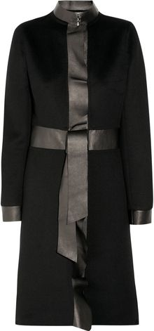 Valentino Leather-trimmed Wool-blend Coat - Lyst