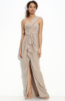 BCBGMAXAZRIA Ruffle Front One Shoulder Satin Gown - Lyst